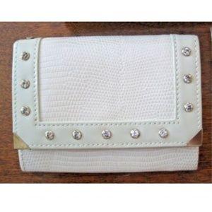 Swarovski Mini Ivory Tan Cream Leather Wallet